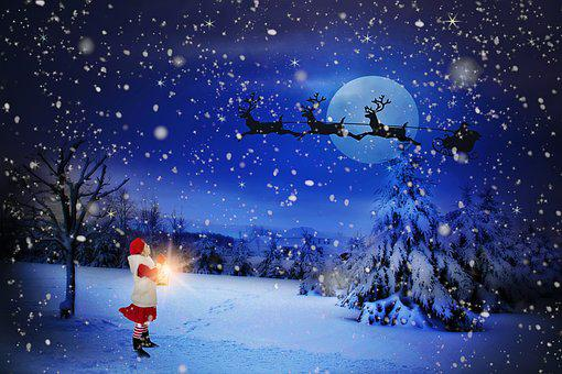 Christmas Eve, Santa Over Moon, Holiday