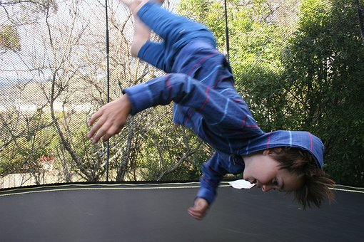 Boy, Crazy Hair, Flip, Trampoline