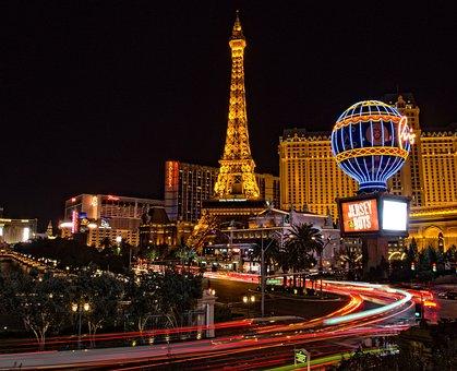ラスベガス, エッフェル塔, 建物, アーキテクチャ, 点灯, 街の灯