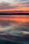sunset, water, lake