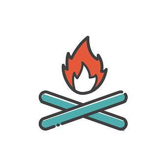 たき火, アイコンを, 記号, 火, 炎, キャンプファイヤー, 書き込み