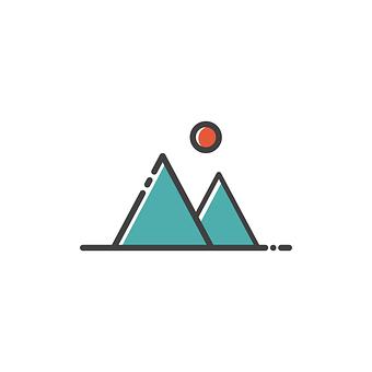 山, アイコンを, 記号, デザイン, シンボル, 旅行, 観光, 自然, 設定