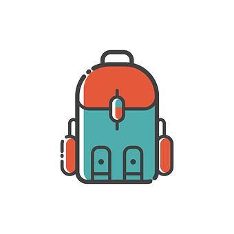 バックパック, アイコンを, デザイン, シンボル, バッグ, 記号, フラット