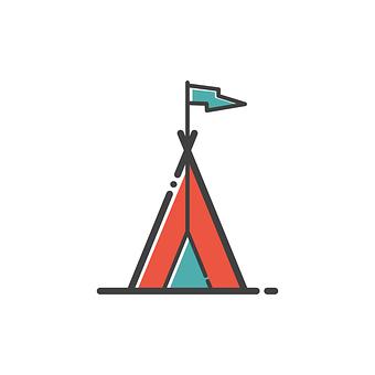 キャンプ, アイコンを, 旅行, デザイン, シンボル, 夏, 観光