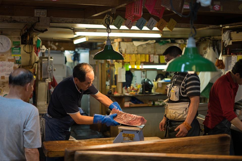 アジア, 魚, 市場, 食品, 手袋, 日本, 低光, 人, 東京築地, 仕事