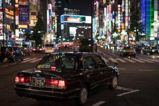 アジア, 車, 日本, ライト, 泊, 人, 新宿, 通り
