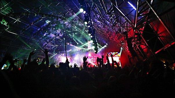 視聴者, バンド, 祝賀, 群衆, ダンス, 祭り, ライト, 音楽
