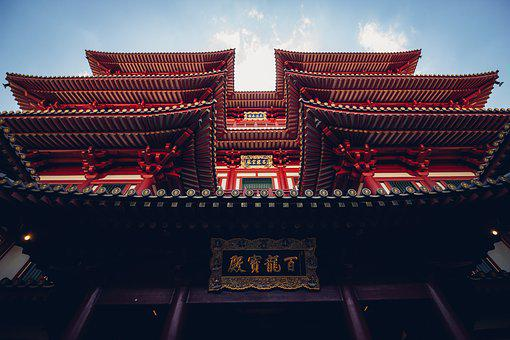 アジア, アジアの建築, 建物, ドラゴン, ひさし, ファサード, 帝国, 光