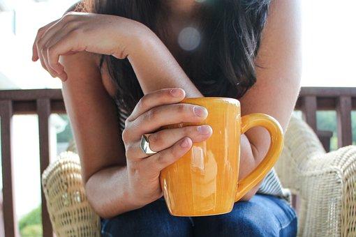 クッキー、カップ、コーヒー、朝、外、更、クラスて、女性、マグ