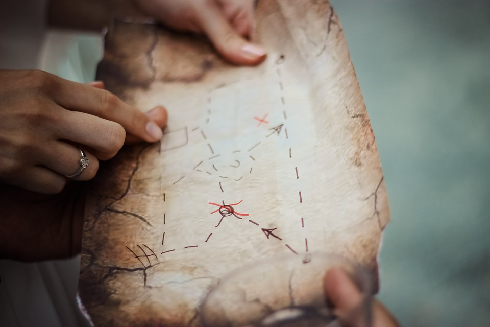 Treasure Map, Navigation, Map, Exploration, Hands