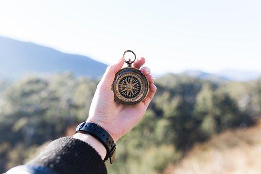 Adventure, Compass, Hand, Macro