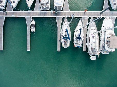 Anchored, Yachts, Dock, Marina, Luxury
