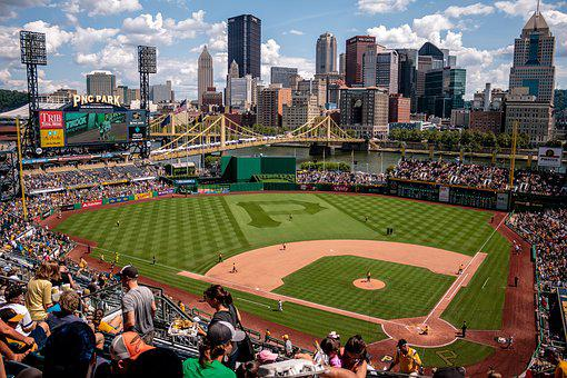 アクション, 運動選手, 視聴者, 野球場, 野球, 市, 都市の景観, 群衆