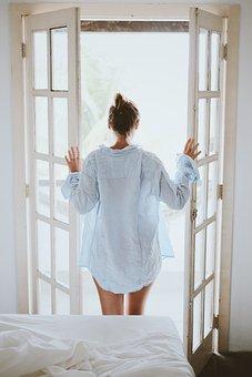 Morning, Bedroom, Bed, Door, Girl