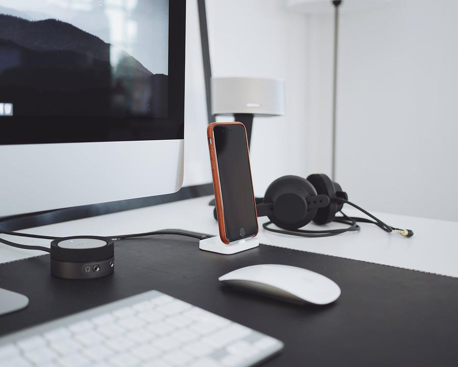 free photo: apple, computer, desk, headphones - free image on