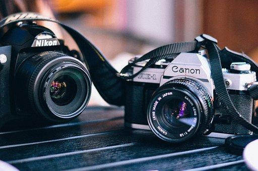 カメラ, キヤノン, レンズ, ニコン, 青カメラ
