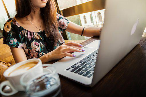 女性, ラップトップ, デスク, ワークスペース, Macbook, 技術