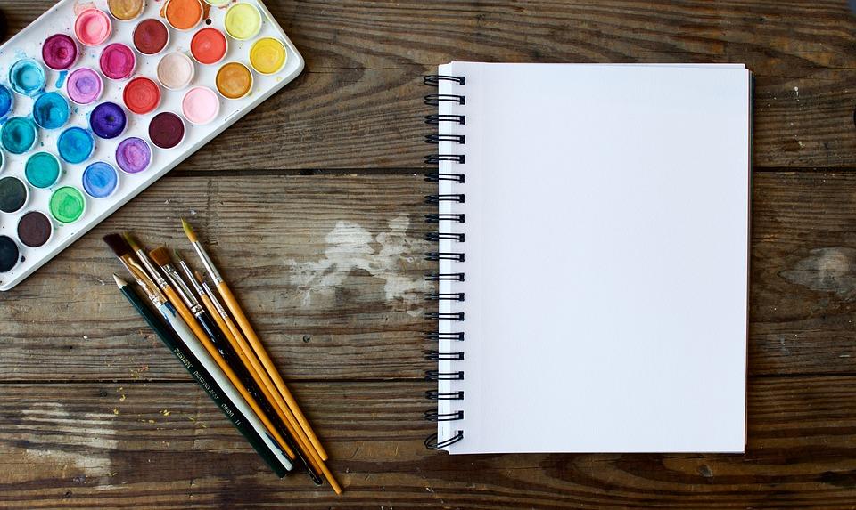 アート, 水彩画, 美術・工芸, ペイントブラシ, 空白, カラフルです, ノートブック, ペイント, 絵画