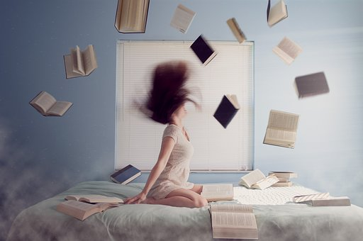 Woman, Studying, Learning, Books