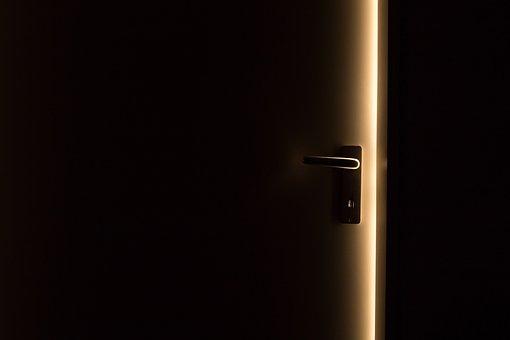Escuro, Porta, Maçaneta, Luz, Aberto