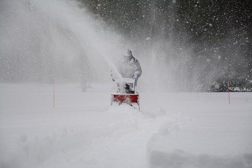 Snow Removal Snowstorm Driveway White Man