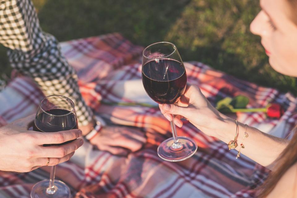 romantic picnic with wine