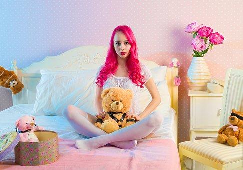 ベッド, ベッドルーム, かわいい, 楽しい, 女の子, 屋内で, ルーム