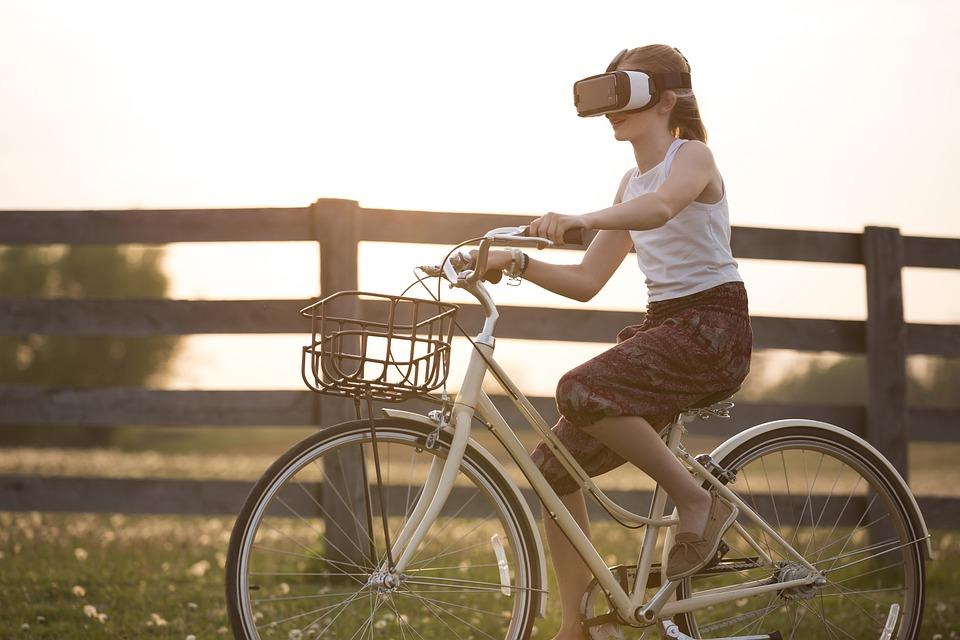 拡張現実感、自転車、自転車、子供、サイクリスト、フェンス