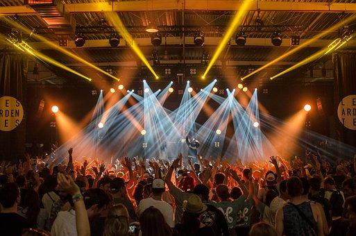 視聴者, バンド, コンサート, 群衆, 祭り, ライト, 音楽