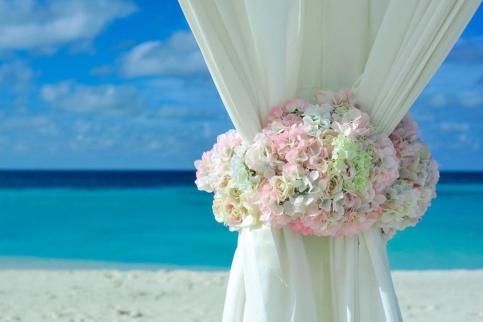 Beach, Gardiner, Bröllopsinställnings, Dekorationer