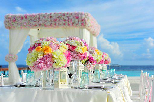 ビーチ, 花の束, 祝賀, 椅子, カラフルです, 装飾, 花, ホテル, 海