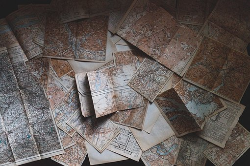 Maps, Pages, Paper, Vintage, Navigation
