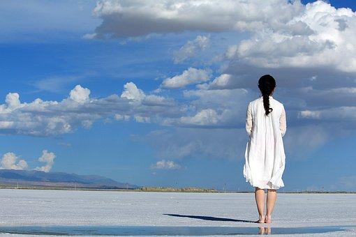 Maiden, Blue Sky, Girl, White, Return