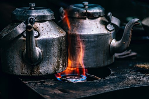 Teapots, Pots, Cook Stove, Flame