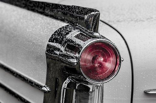 車, 戻る, 光, 車両, テールライト, ブレーキライト, レトロ, 古典的な