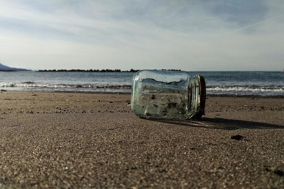 Sky, Cloud, Sea, Beach, Glass, Bottle