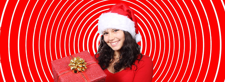 Christmas, Gift, Girl, Package, Coupon, Gift Card, Red