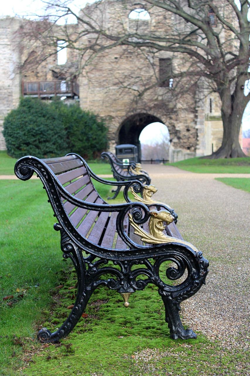 长凳,公园,城堡,公园长椅,草,绿色,树,户外,座位,休息,坐,景观,秋,季节,花园