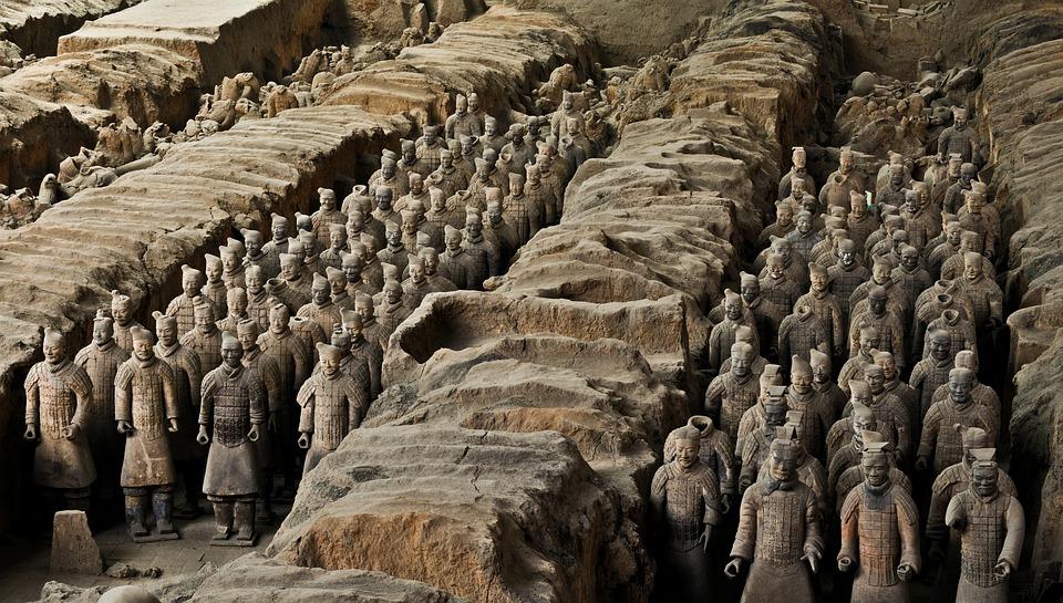 Armée De Terre Cuite, Chine, Xi'An, Soldat, Statue