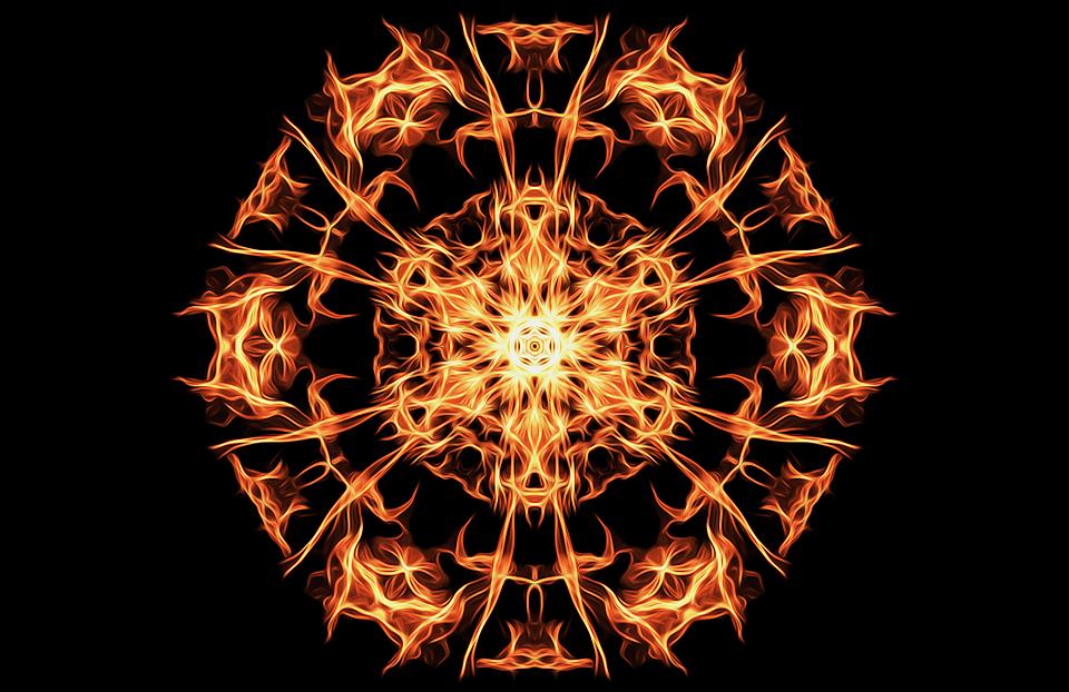 Pentagram Fire Magic Symbol Flames Occult Icon