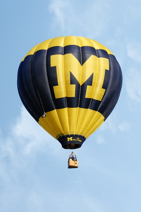 Hot Air Balloon, University Of Michigan, Blue, Yellow