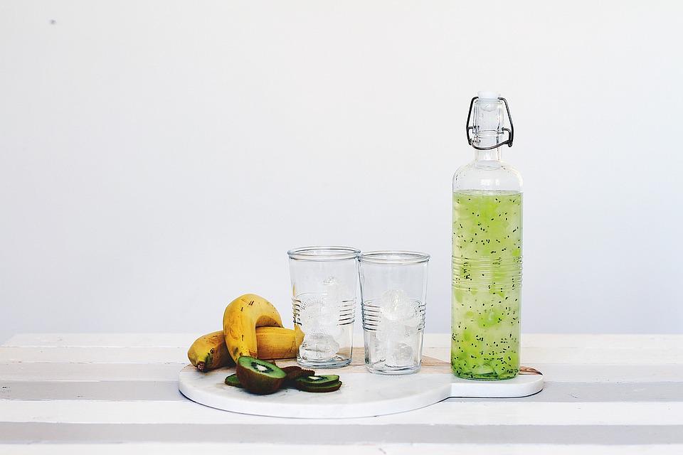 ボトル, ドリンク, コップ, 食品, 果物, ジュース, テーブル