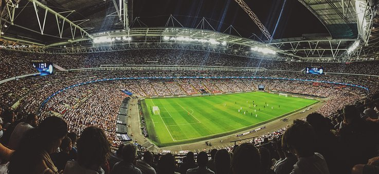 視聴者, 観覧席, 群衆, ゲーム, 一致, 人, サッカー, 見物人