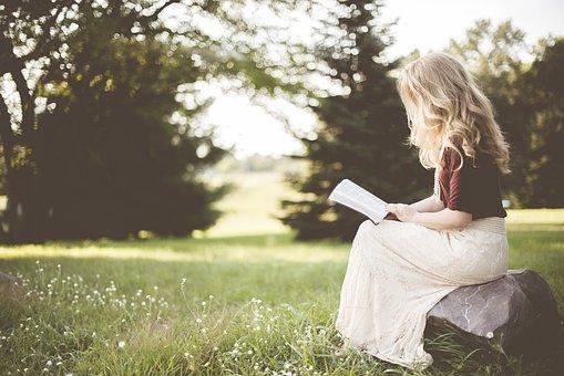 Blonde, Girl, Book, Reading, Sit