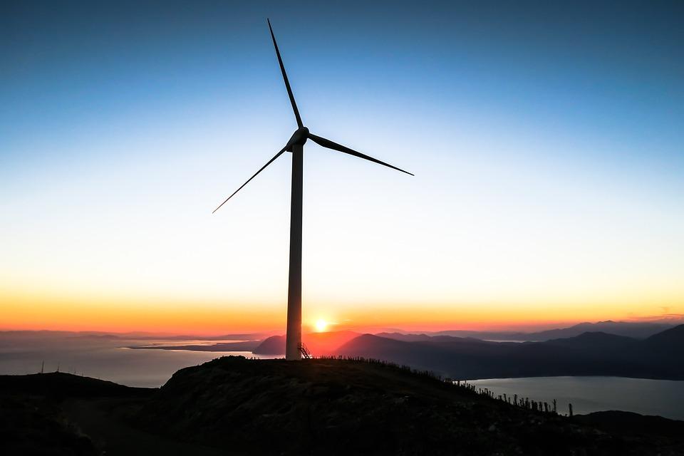 Dawn, Dusk, Landscape, Silhouette, Sunset, Wind Turbine