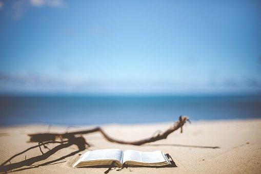 ビーチ, 本, 読書, 休暇, ぼかし, 本のページ, クローズ アップ, 海岸