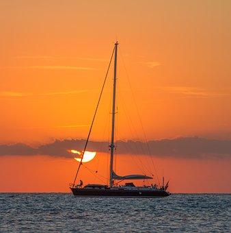 보트, 일출, 황혼, 돛대, 바다, 범선, 항해, 선박, 하늘, 선셋