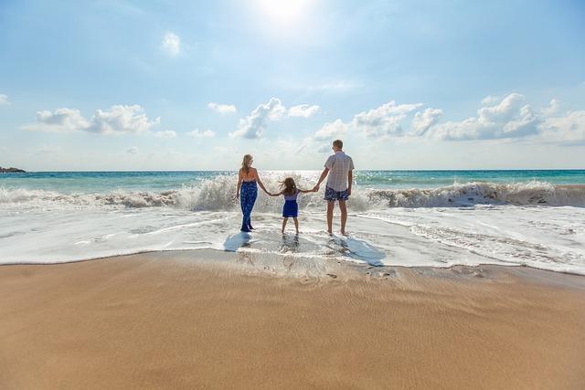 ビーチ, 家族, 楽しい, レジャー, 海, 緩和, 砂, 海岸, 空, 夏, 日当たりの良い, 休暇, 水
