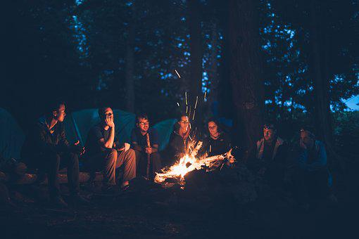 Bonfire, Camping, Fire, Flame, Group
