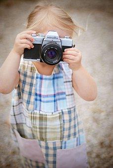 カメラ, 映画, 小さな女の子, ミノルタ, 肯定的です, カメラマン